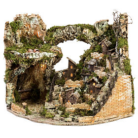 Nativity village with stable and lights 58x50x38cm s1