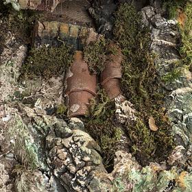 Stalla presepe con mulino a vento 58x50x38 cm s7