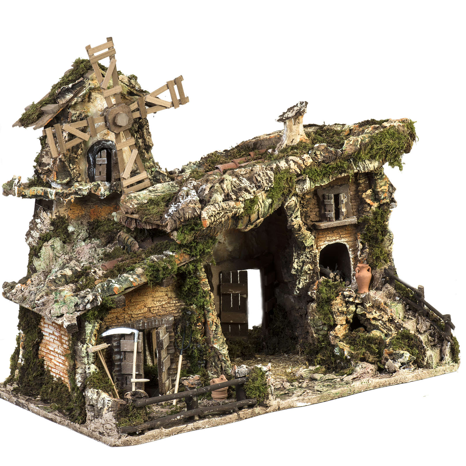 Nativity stable with wind mill 58x50x38cm 4