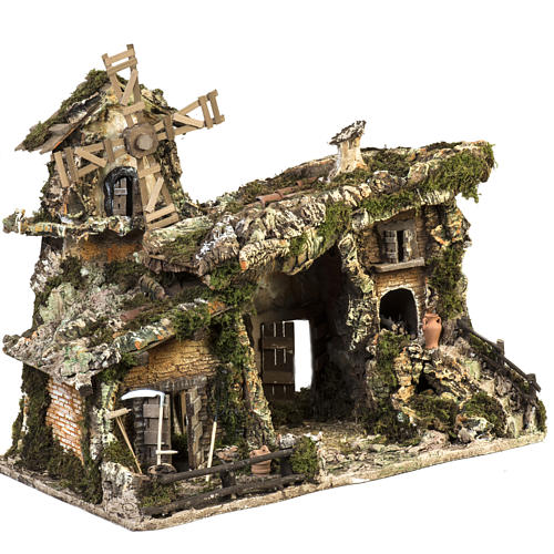 Nativity stable with wind mill 58x50x38cm 6