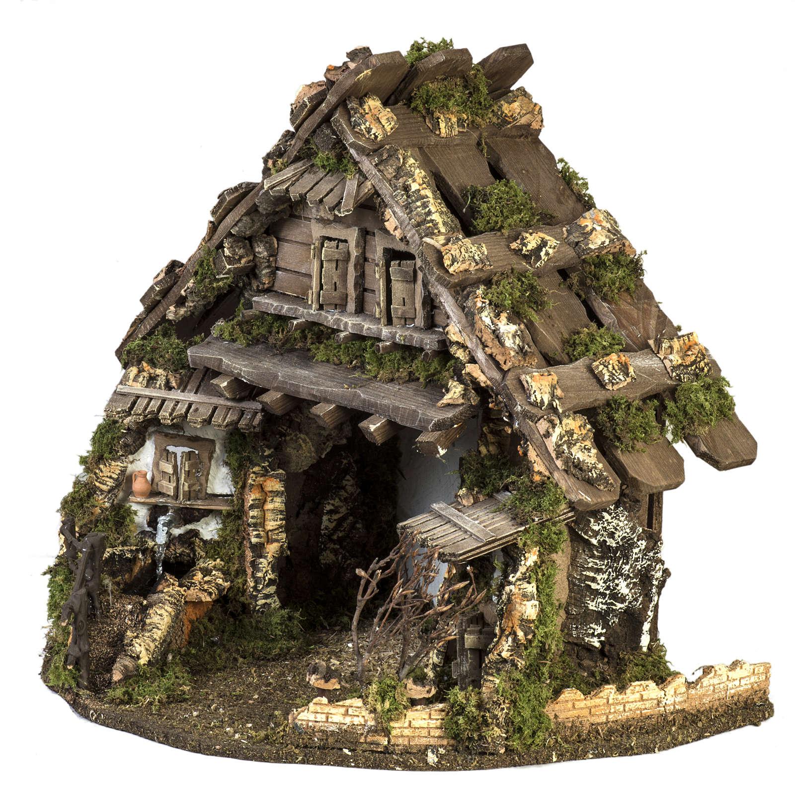 Cabaña estilo refugio para el pesebre con fuente 56x48x38 4