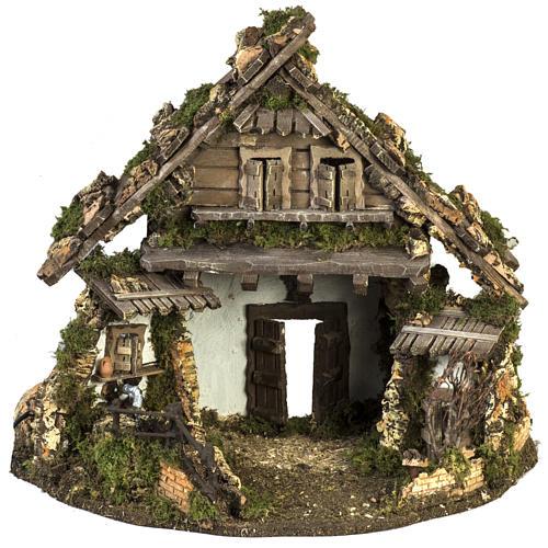 Cabaña estilo refugio para el pesebre con fuente 56x48x38 1