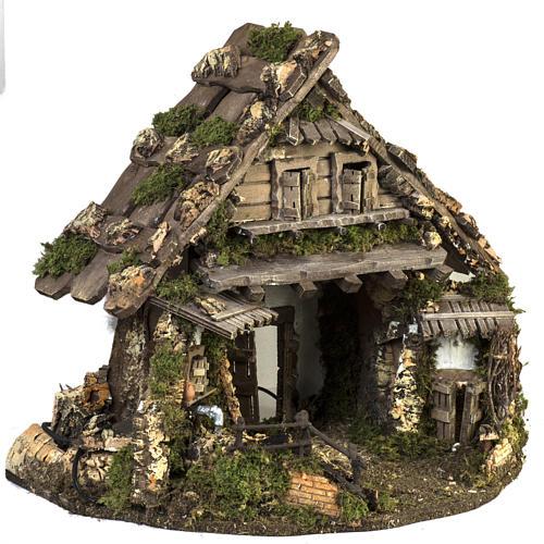 Cabaña estilo refugio para el pesebre con fuente 56x48x38 5