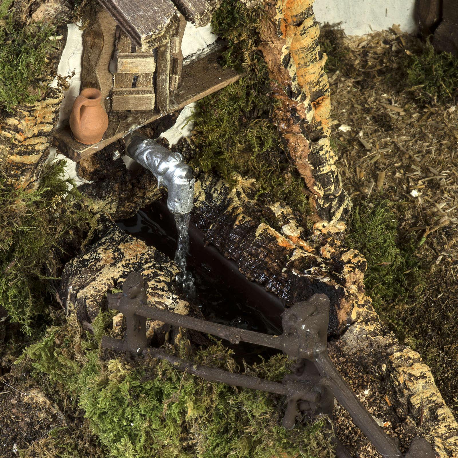 Cabane crèche Noel style chalet avec fontaine 56x48x38cm 4