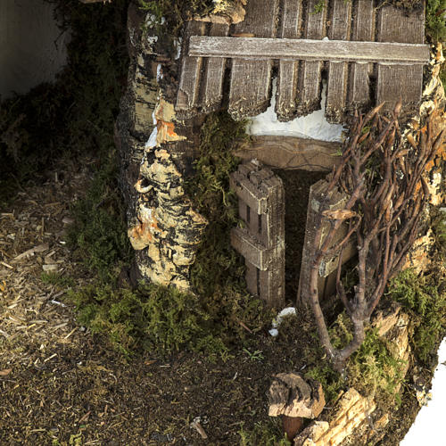 Cabane crèche Noel style chalet avec fontaine 56x48x38cm 3