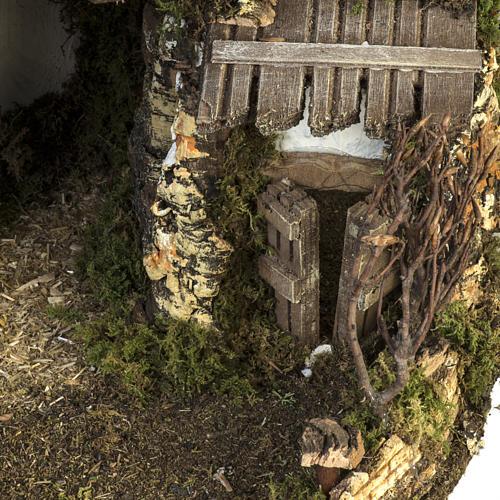 Capanna presepe stile baita con fontana 56x48x38 cm 3