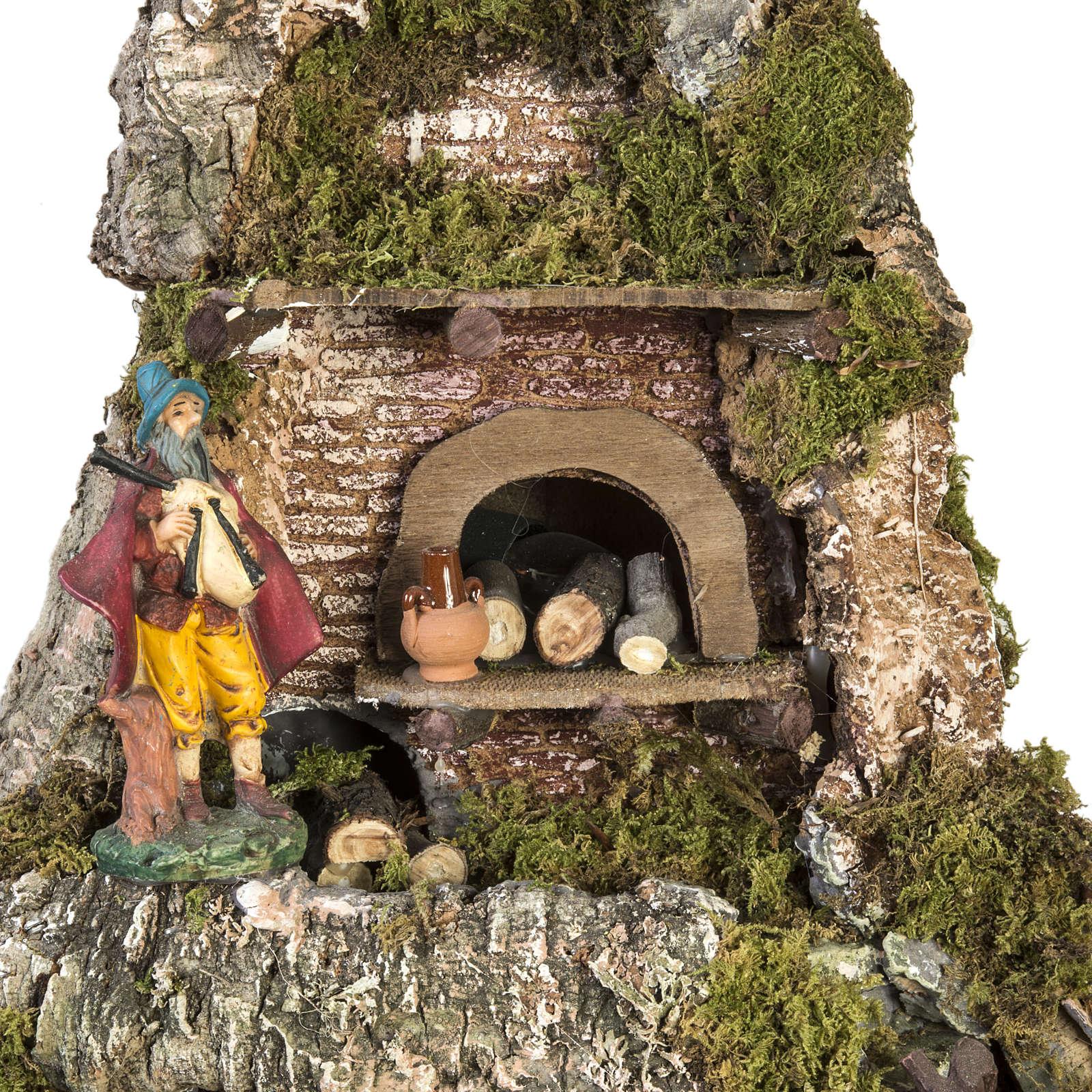 Borgo presepe stile napoletano con capanna luci fontana fuoco 4