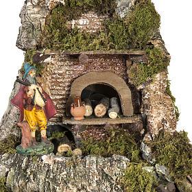 Borgo presepe stile napoletano con capanna luci fontana fuoco s5