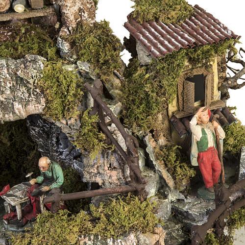 Borgo presepe stile napoletano con capanna luci fontana fuoco 6