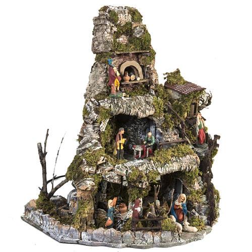 Borgo presepe stile napoletano con capanna luci fontana fuoco 7