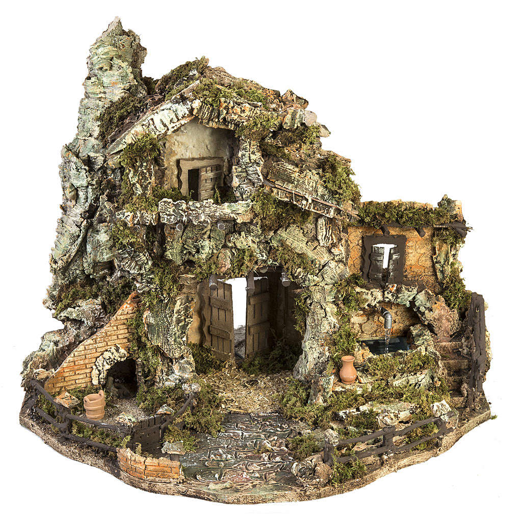 Nativity village with stable and fountain 58x48x38cm 4