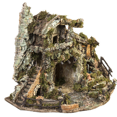 Nativity village with stable and fountain 58x48x38cm 6