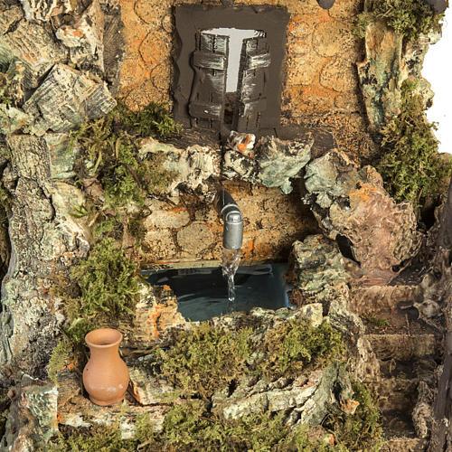 Pueblito con casa y fuente para pesebre 58x48x38cm 4