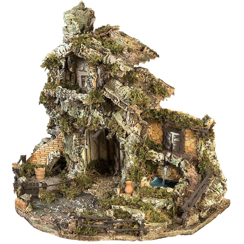 Borgo presepe con capanna e fontana: 58x48x38 cm 4