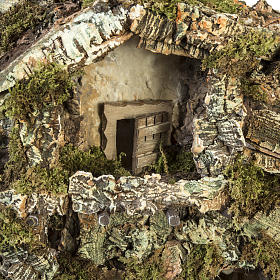 Borgo presepe con capanna e fontana: 58x48x38 cm s2