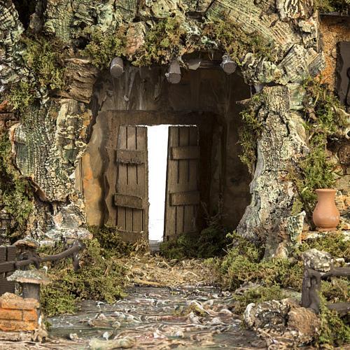Borgo presepe con capanna e fontana: 58x48x38 cm 3