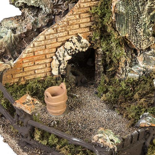 Borgo presepe con capanna e fontana: 58x48x38 cm 5