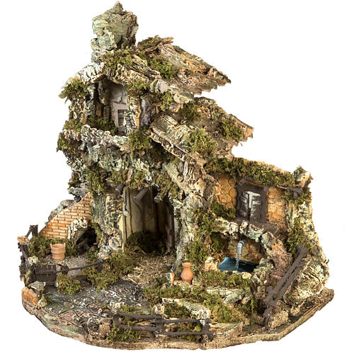 Borgo presepe con capanna e fontana: 58x48x38 cm 7