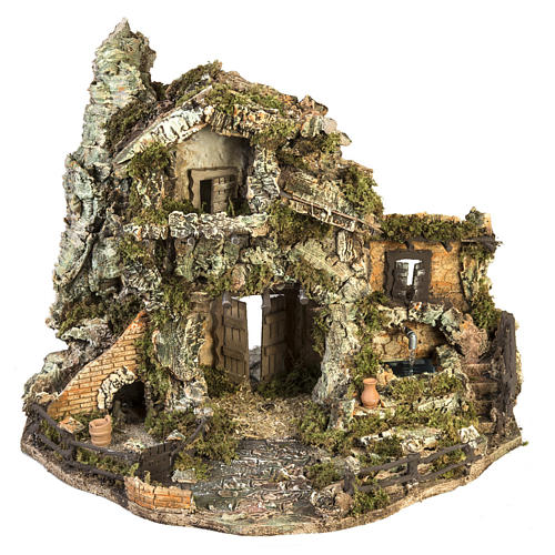 Nativity village with stable and fountain 58x48x38cm 1