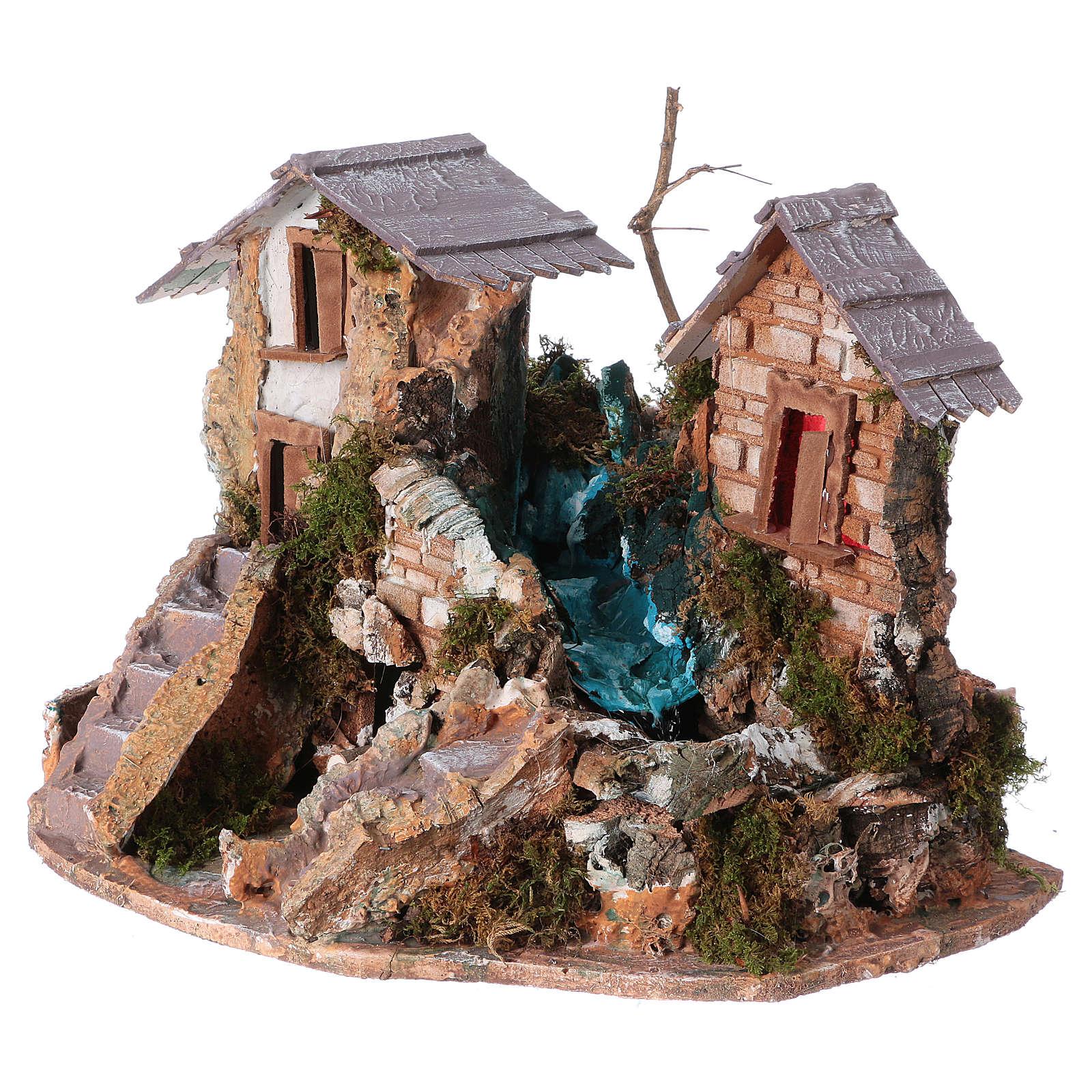 Nativity setting, waterfall between houses 4
