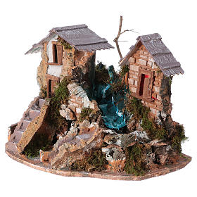 Nativity setting, waterfall between houses s3