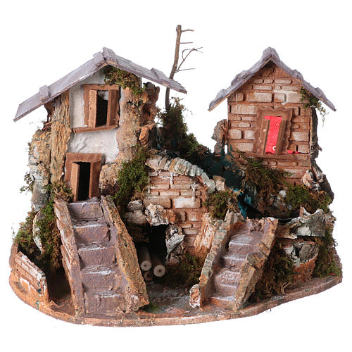 Nativity setting, waterfall between houses 1