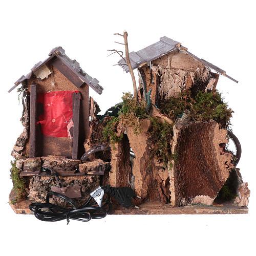 Nativity setting, waterfall between houses 5