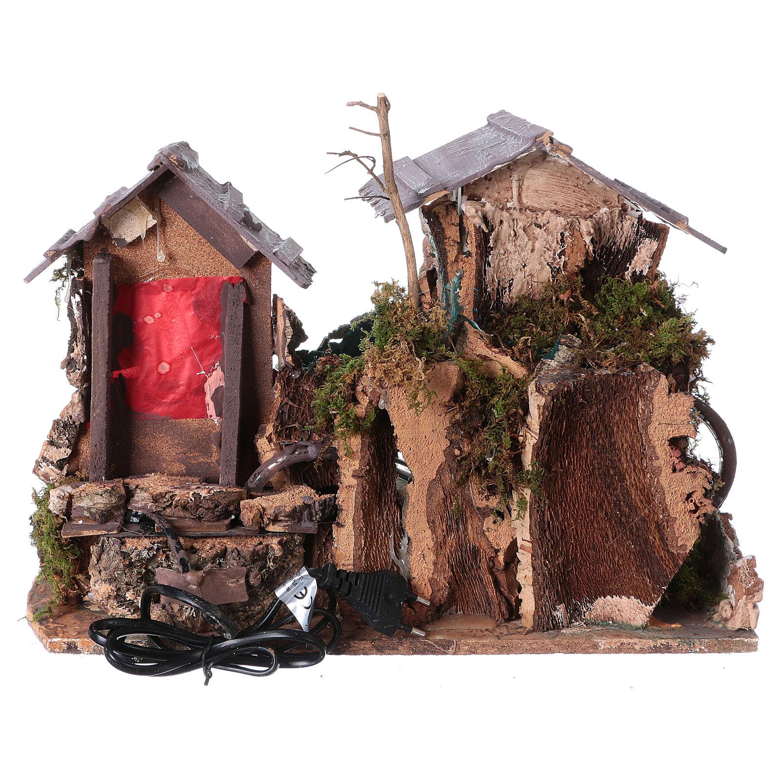 Cascade dans les maisons, milieu crèche de noel 4