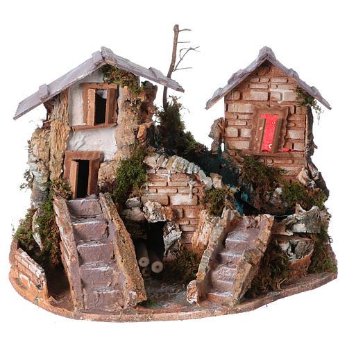 Cascade dans les maisons, milieu crèche de noel 1