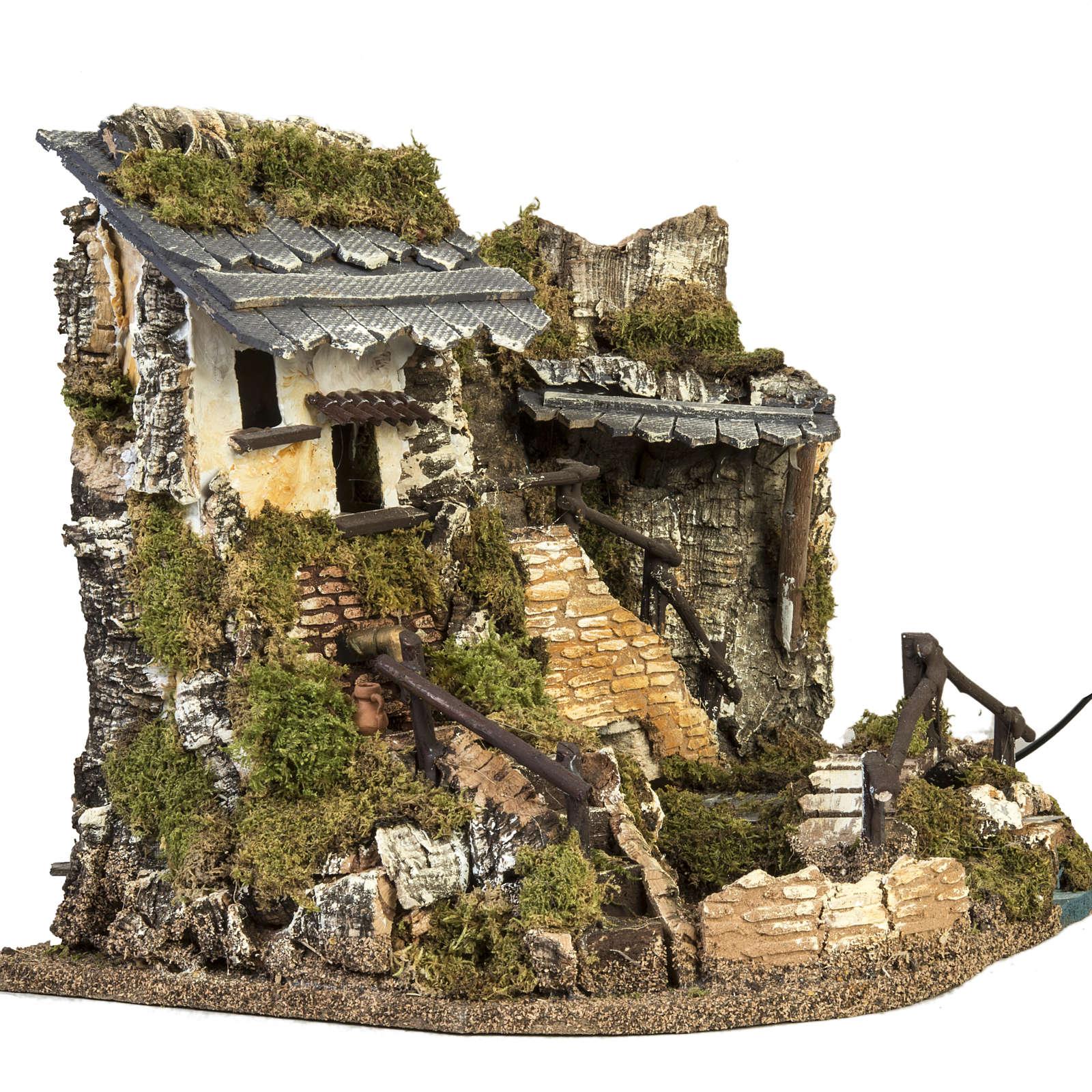 Borgo presepe con fontana, ruscello, staccionata 4