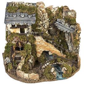 Borgo presepe con fontana, ruscello, staccionata s1