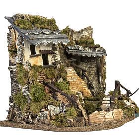 Borgo presepe con fontana, ruscello, staccionata s4