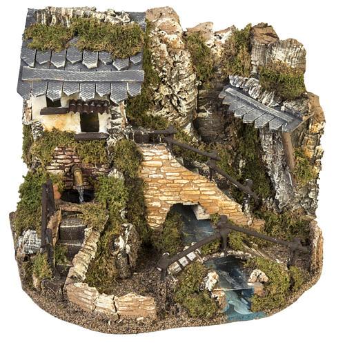 Borgo presepe con fontana, ruscello, staccionata 1