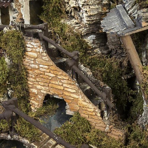 Borgo presepe con fontana, ruscello, staccionata 6