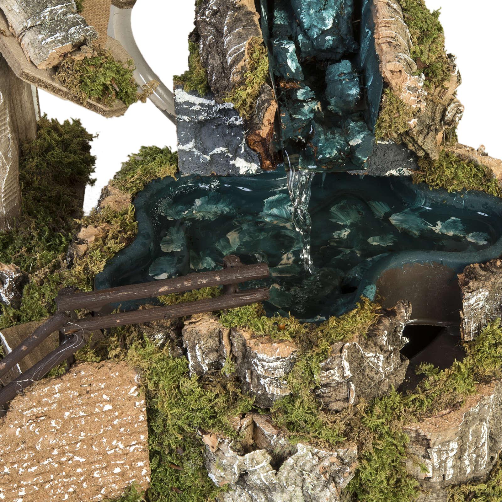 Capanna presepe stile baita con cascata 28x48x24 cm 4