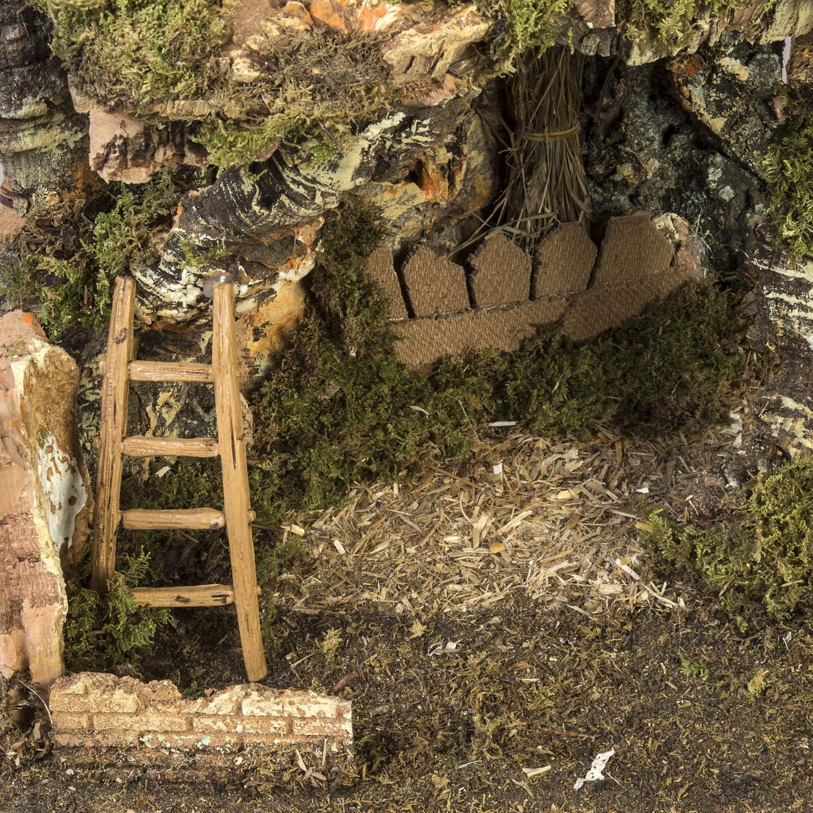 Etable crèche Noel fontaine maison échelle40x58x38 4
