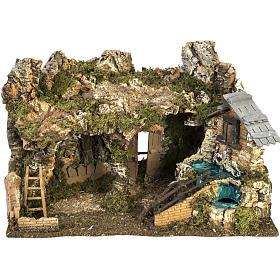Etable crèche Noel fontaine maison échelle40x58x38 s1