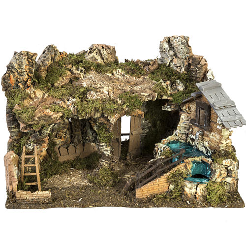 Etable crèche Noel fontaine maison échelle40x58x38 1