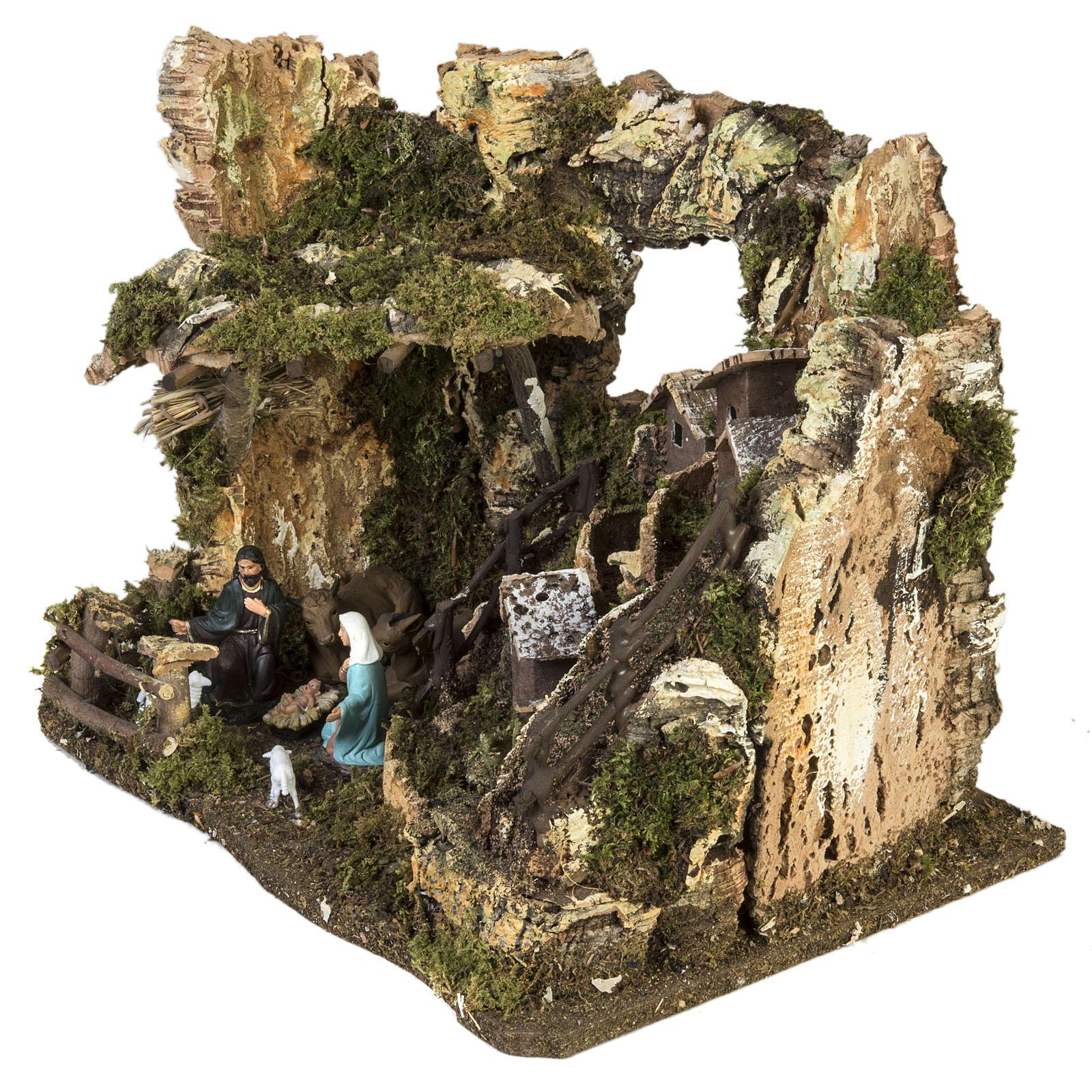 Bourg crèche Noel avec grotte 28x38x28 cm 4