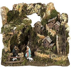 Bourg crèche Noel avec grotte 28x38x28 cm s1