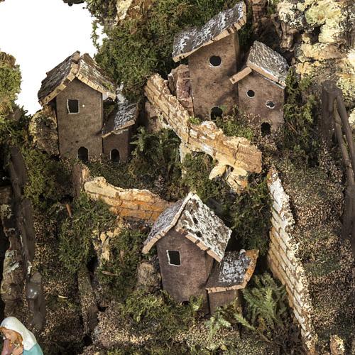 Bourg crèche Noel avec grotte 28x38x28 cm 2