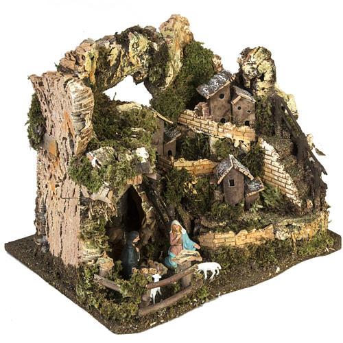 Bourg crèche Noel avec grotte 28x38x28 cm 5