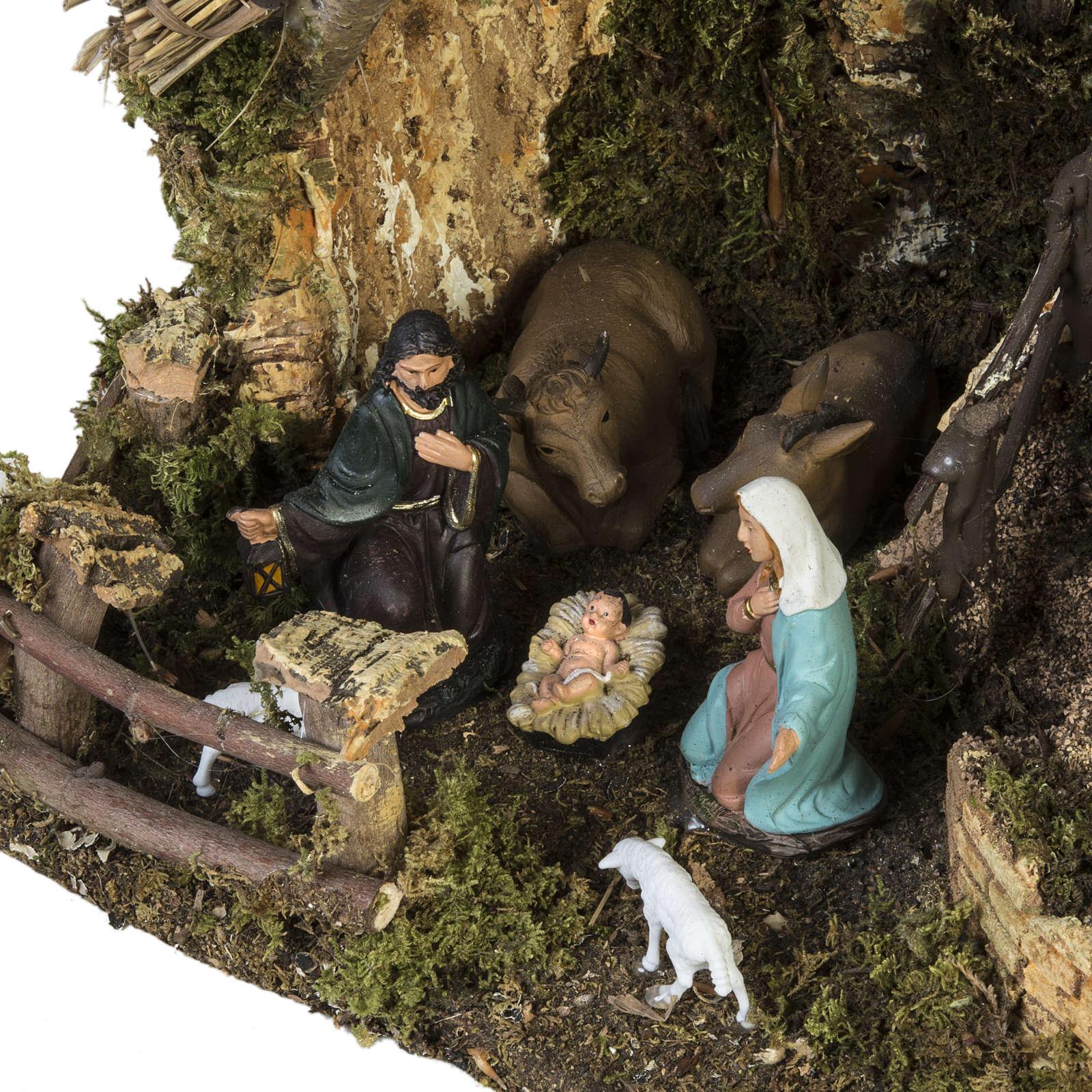 Borgo presepe con grotta 28x38x28 cm 4