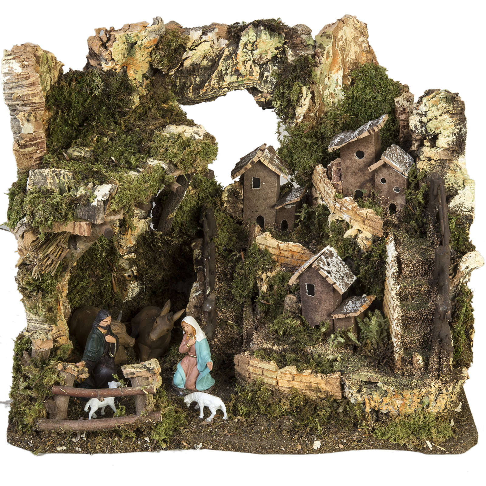 Nativity setting, village with grotto 28x38x28cm 4