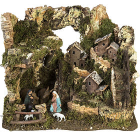 Nativity setting, village with grotto 28x38x28cm s1