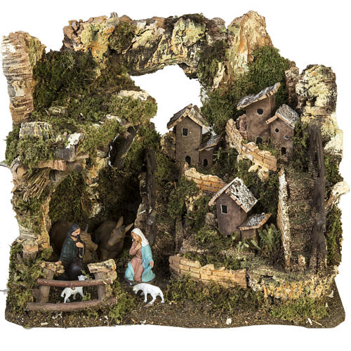 Nativity setting, village with grotto 28x38x28cm 1