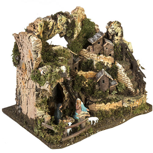 Nativity setting, village with grotto 28x38x28cm 5