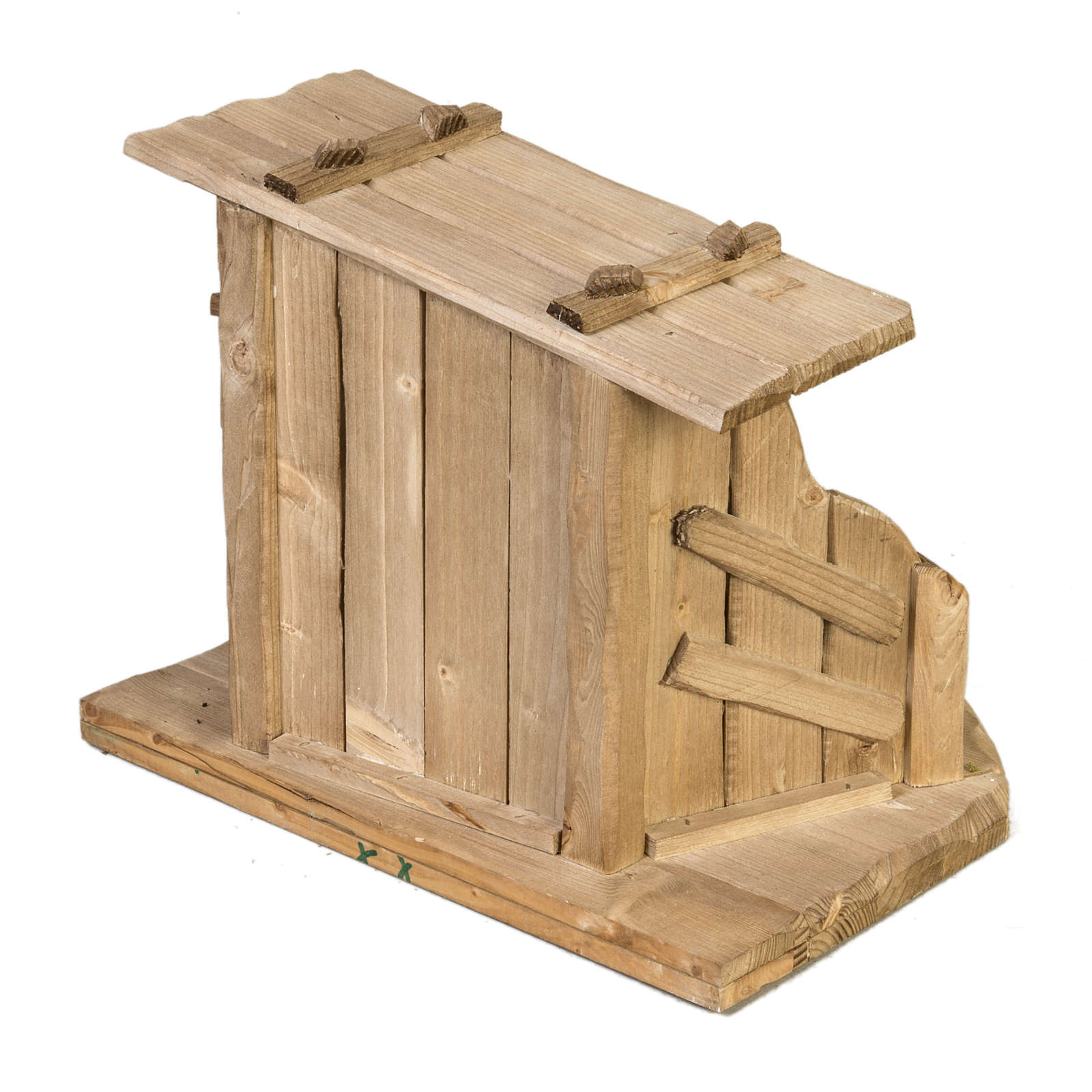 Nativity setting, wooden stable 28x38x28cm 4