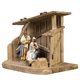 Nativity setting, wooden stable 28x38x28cm s2