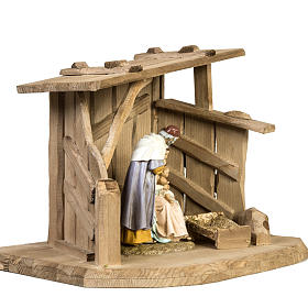 Nativity setting, wooden stable 28x38x28cm s3